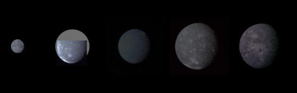 I 5 satelliti di Urano in un fotomontaggio, in ordine crescente di distanza (da sinistra a destra): Miranda, Ariel, Umbriel, Titania e Oberon.