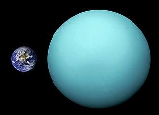 Le dimensioni di Urano comparate con quelle della Terra.
