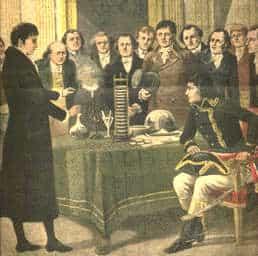 Alessandro Volta illustra l'invenzione della pila a Napoleone Bonaparte.