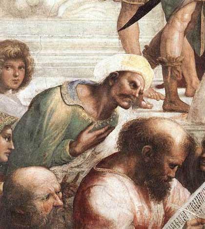 Averroè, particolare della Scuola di Atene