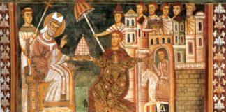 Donazione di Costantino - Dalle pareti dell'Oratorio di San Silvestro, Roma. Una scena riproducente Silvestro I che riceve dall'imperatore Costantino la tiara, simbolo del potere temporale
