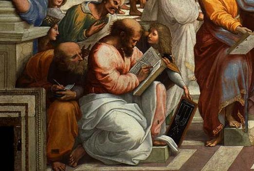 Pitagora, particolare della Scuola di Atene, descrizione