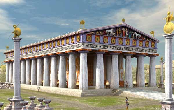 Ricostruzione al omputer del Tempio di Zeus a Olimpia