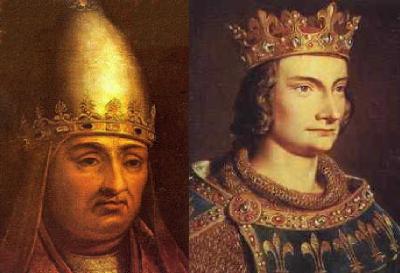Papa Bonifacio VIII e Filippo IV il Bello, re di Francia