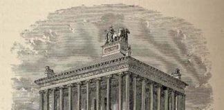 Disegno ricostruttivo del Mausoleo di Alicarnasso