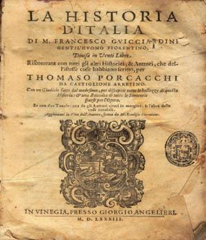 Storia d'Italia di Francesco Guicciardini, 1° edizione del 1561