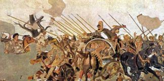 Alessandro Magno e Dario III durante la battaglia di Isso, mosaico, part., II sec. a.C. [Museo Archeologico Nazionale, Napoli]