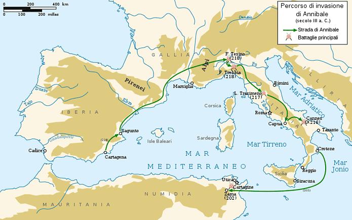 Seconda Guerra Punica - Invasione di Annibale dalle Alpi