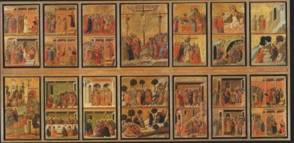 Duccio di Buoninsegna, Maestà, 1308-1311. Lato posteriore con i 26 episodi. Tempera e oro su tavola. Siena, Museo dell'Opera del Duomo e musei stranieri