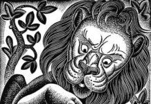 il fanciullo il padre e il leone dipinto