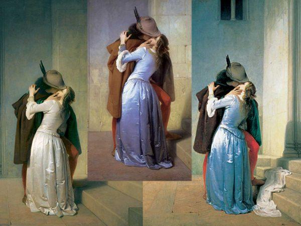 il bacio di francesco hayez, le tre versioni