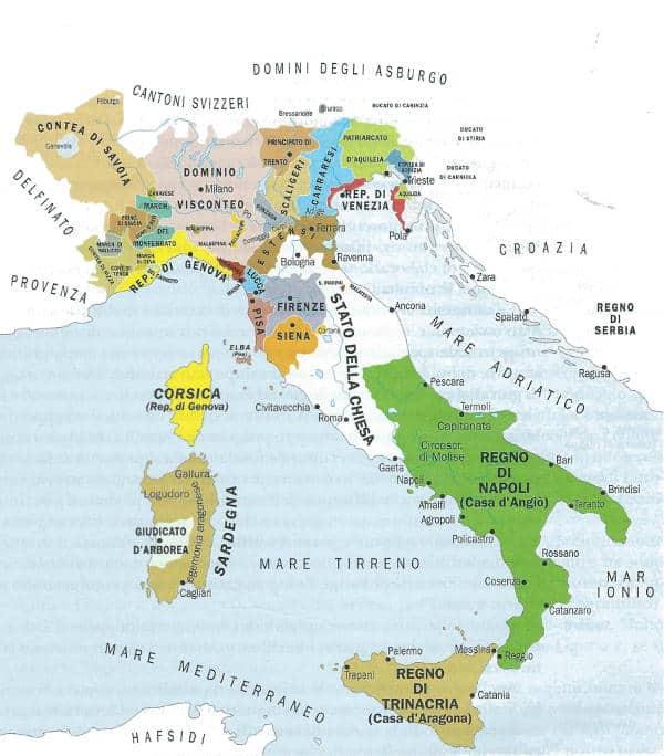 Cartina Dellitalia Nel 400.Il Passaggio Dalle Signorie Agli Stati Regionali Studia Rapido