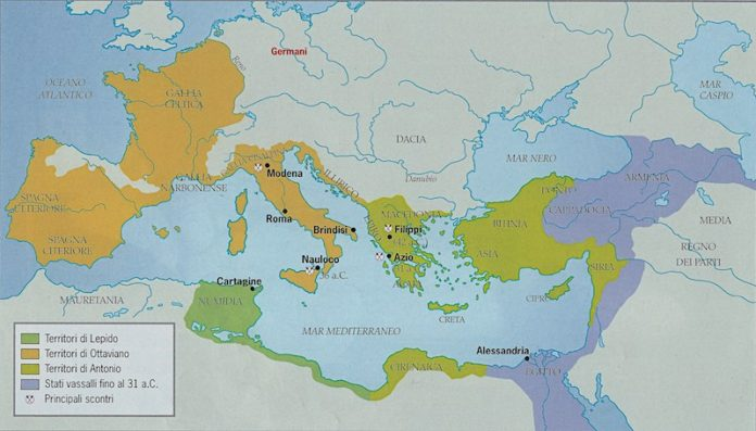 La guerra civile del 44-31 a.C. Ottaviano contro Antonio