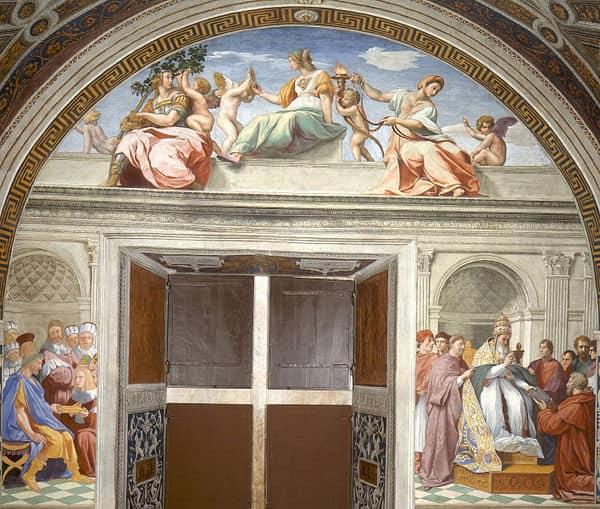 Raffaello, Le Virtù cardinali e teologali e La Giustizia