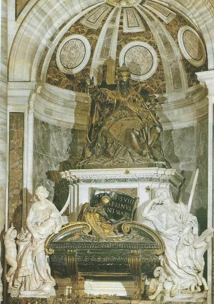 Gian Lorenzo Bernini, Monumento funebre di Urbano VIII, 1628-1647, marmo, bronzo e legno. Città del Vaticano, Basilica di San Pietro