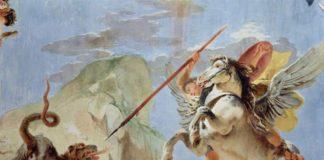 Bellerofonte a cavallo di Pegaso uccide la Chimera
