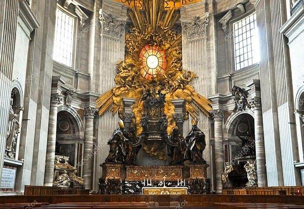Gian Lorenzo Bernini, Cattedra di San Pietro, 1657-1666, marmo, bronzo, stucco dorato. Città del vaticano, Basilica di San Pietro