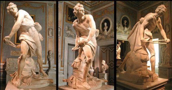 Gian Lorenzo Bernini, David che scaglia il sasso, 1623-1624, marmo, h.170 cm. Roma, Galleria Borghese