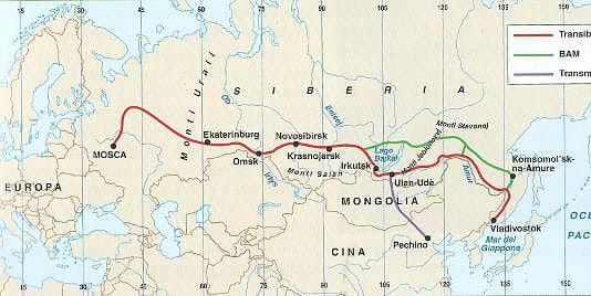 Il percorso della ferrovia Transiberiana