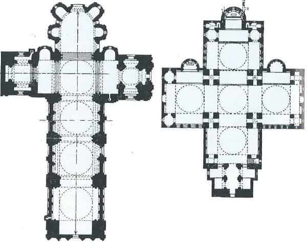 Pianta a croce latina (a sinistra) e pianta a croce greca (a destra)