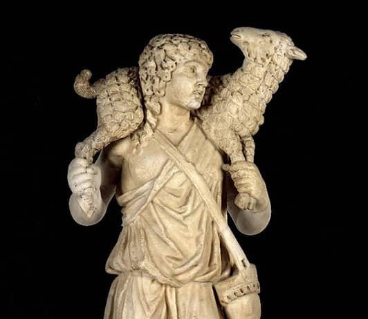 Arte paleocristiana: Il Buon Pastore, III-IV secolo, Roma, Palazzi Vaticani, Museo Pio Clementino