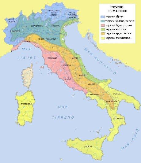 Cartina Dellitalia Con Zone Climatiche.Regioni Climatiche Italiane Quali Sono Caratteristiche Studia Rapido
