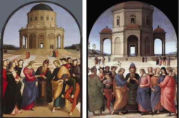 Sposalizio della Vergine, confronto Raffaello e Perugino